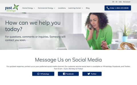 Screenshot of Contact Page justenergy.com - Contact Us - captured Sept. 17, 2019