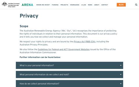 Screenshot of Privacy Page arena.gov.au - Privacy - Australian Renewable Energy Agency - captured June 27, 2017