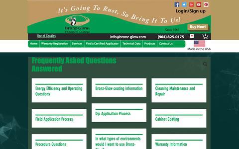 Screenshot of FAQ Page bronz-glow.com - Bronz-Glow Technologies, St. Augustine, FL FAQ - captured Oct. 6, 2018