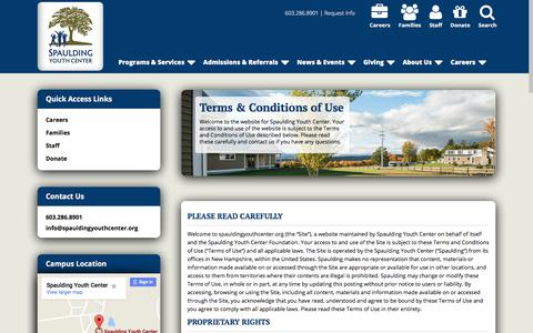 Screenshot of Terms Page spauldingyouthcenter.org - Spaulding Youth Center | Terms & Conditions of Use - captured Nov. 3, 2017