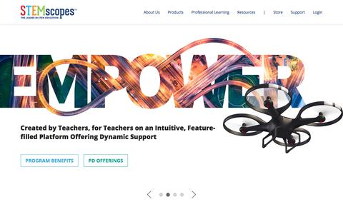 Screenshot of Home Page stemscopes.com - The Leader in STEM Education | STEMscopes - captured Aug. 14, 2019