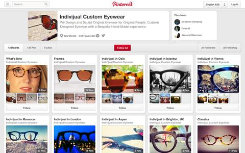 Screenshot of Pinterest Page pinterest.com - Indivijual Custom Eyewear on Pinterest - captured Oct. 23, 2014