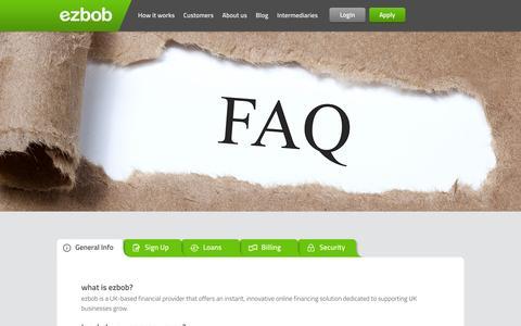Screenshot of FAQ Page ezbob.com - FAQ | ezbob - captured Oct. 1, 2014