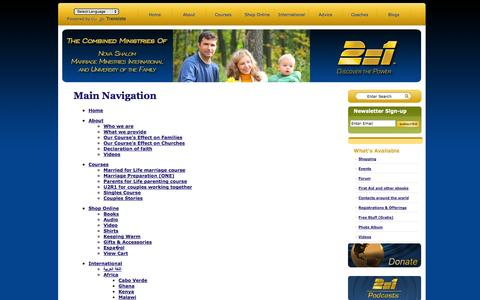 Screenshot of Site Map Page 2equal1.com - 2=1 - The Combined Ministries of Nova Shalom, Marriage Ministries International, and University of the Family - captured Oct. 7, 2014