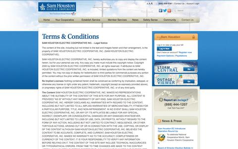 Screenshot of Terms Page samhouston.net - Terms & Conditions | Sam Houston Electric - captured Oct. 4, 2014