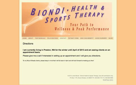 Screenshot of Maps & Directions Page biondisportstherapy.com - Directions - captured Oct. 5, 2014