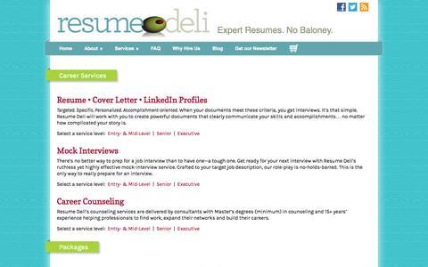 Screenshot of Services Page resumedeli.com - Services   Resume Deli - captured Oct. 26, 2014