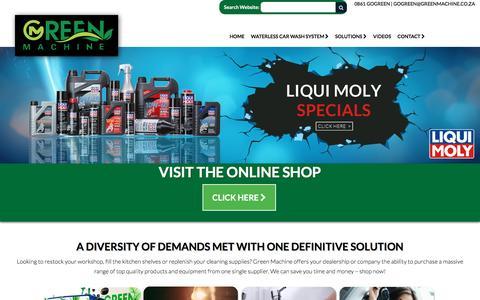 Screenshot of Home Page greenmachine.co.za - Green Machine: Home - captured Oct. 6, 2016
