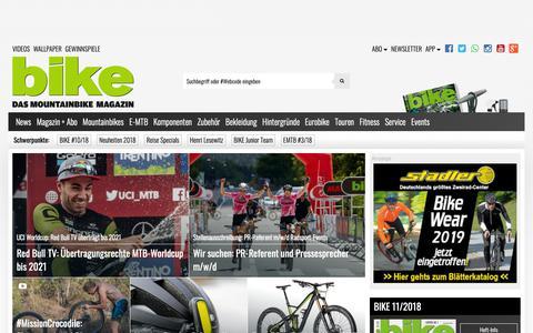 Screenshot of Home Page bike-magazin.de - BIKE - das Mountainbike Magazin - captured Oct. 19, 2018