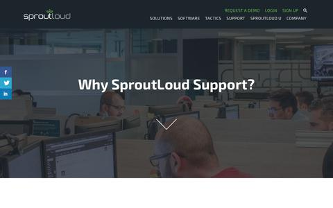 Screenshot of Support Page sproutloud.com - Why Sproutloud Support? | Sproutloud - captured Sept. 22, 2017