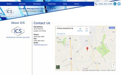 Screenshot of Contact Page infocapsol.com - Contact ICS - captured Nov. 26, 2016