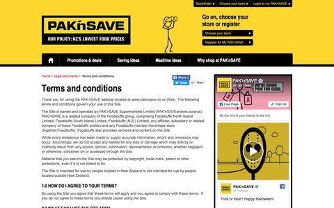 Screenshot of Terms Page paknsave.co.nz - Terms and conditions | PAK'nSAVE - captured Nov. 3, 2018