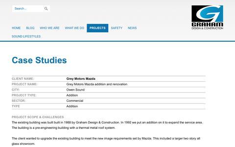 Screenshot of Case Studies Page grahamconstruction.ca - Graham Design & Constructionation: Case Studies - captured Sept. 28, 2018