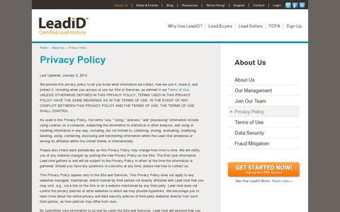 Screenshot of Privacy Page leadid.com - View LeadiD's Privacy Policy | LeadiD - captured July 19, 2014