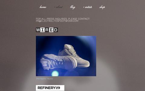 Screenshot of Press Page electrolitesfootwear.com - press — Electrolites Footwear - captured Oct. 2, 2014