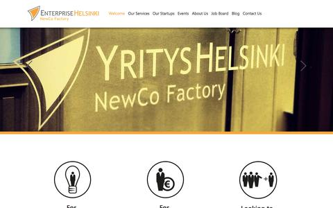 Screenshot of Home Page newcofactory.fi - NewCo Factory -  Ready to create your own startup? - captured Sept. 25, 2014