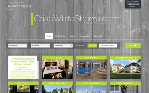 Screenshot of Home Page crispwhitesheets.com - CrispWhiteSheets.com - The Best 5 Star and Luxury Hotels UK - captured Oct. 3, 2014