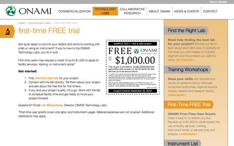 Screenshot of Trial Page onami.us - First-Time FREE Trial | Onami - captured Jan. 1, 2017