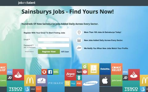 Screenshot of Landing Page jobandtalent.com - Sainsburys Jobs - See Latest - captured Nov. 13, 2016