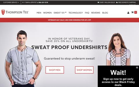 Screenshot of Home Page thompsontee.com - Sweat Proof Undershirts: Anti Sweat Shirts & T Shirts | Thompson Tee - captured Nov. 10, 2019