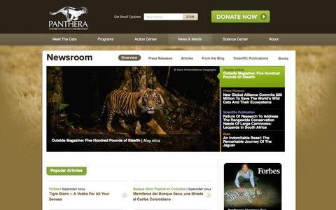 Screenshot of Press Page panthera.org - Newsroom | Panthera - captured Sept. 19, 2014