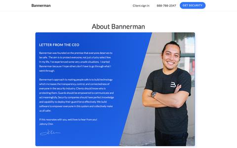 Screenshot of About Page bannerman.com - About Bannerman - We help you buy and manage security - captured June 29, 2018