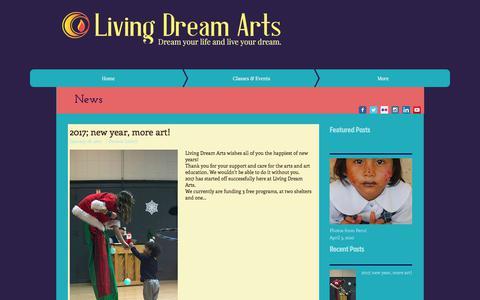 Screenshot of Press Page livingdreamarts.org - News/Blog - captured Dec. 11, 2017