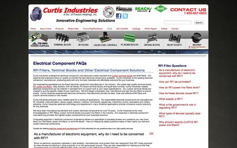 Screenshot of FAQ Page curtisind.com - Electrical Component Part FAQs | Terminal Block Questions  | Curtis Industries Electrical Components Manufacturer - captured Oct. 3, 2014