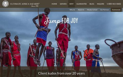 Screenshot of Testimonials Page ultimateafrica.com - Client kudos from over 20 years | Ultimate Africa Safaris - captured Oct. 4, 2017