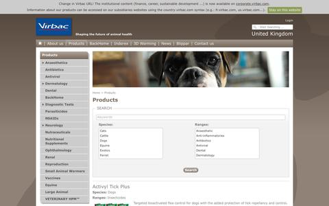 Screenshot of Products Page virbac.com - Virbac UK - Products - captured Oct. 27, 2017