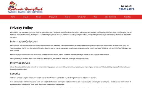 Screenshot of Privacy Page plumbingandair.com - Privacy Policy | Redlands Plumbing, Heating, Cooling - captured Sept. 28, 2018