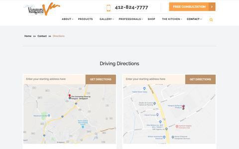 Screenshot of Maps & Directions Page vangura.com - Directions - Vangura Surfacing Products, Inc. - captured Dec. 20, 2018