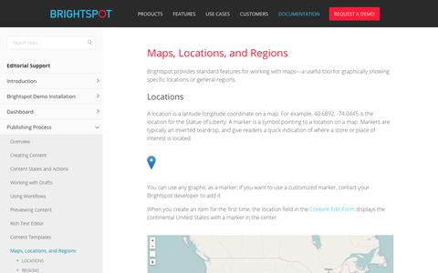 Screenshot of Locations Page brightspot.com - Maps, Locations, and Regions — Brightspot Docs 3.2.4 documentation - captured Feb. 20, 2018