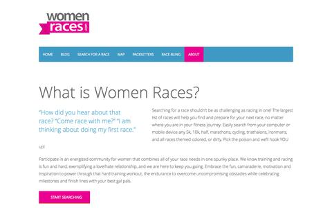 Screenshot of About Page womenraces.com - Women RacesAbout » Women Races - captured Oct. 9, 2014