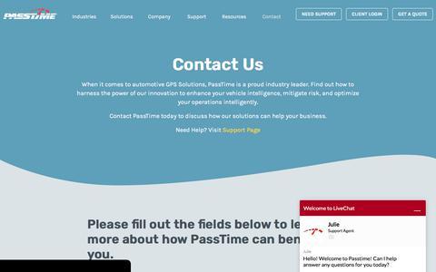 Screenshot of Contact Page passtimegps.com - Contact Us | PassTime GPS - captured Nov. 14, 2019