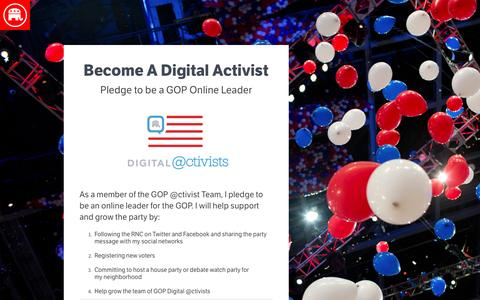Screenshot of Landing Page gop.com - Become A Digital Activist | GOP - captured Aug. 17, 2016