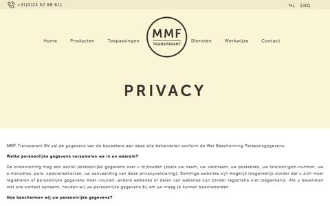 Screenshot of Privacy Page mmftransparant.nl - Privacy – MMF transparant - captured Sept. 30, 2017