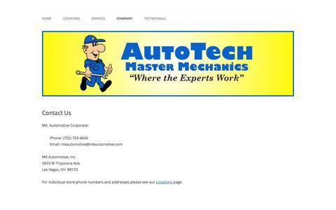 Screenshot of Contact Page mkautomotive.com - Contact Us | AutoTech Master Mechanics - captured Sept. 16, 2014