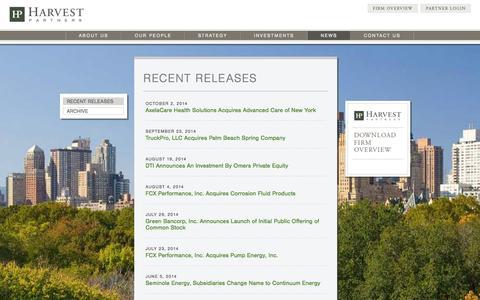 Screenshot of Press Page harvestpartners.com - Recent Releases | Harvest Partners - captured Oct. 27, 2014