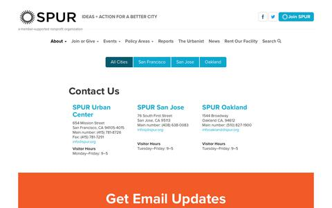 Screenshot of Contact Page spur.org - All Cities | SPUR - captured July 26, 2018