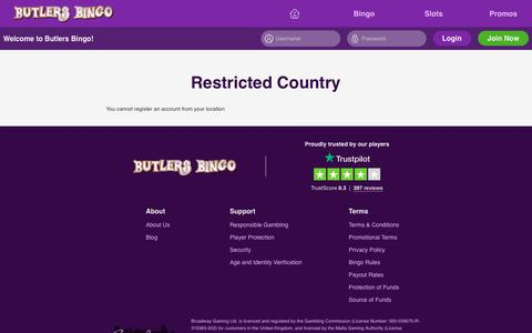 Screenshot of Signup Page butlersbingo.com - Butlers Bingo for great Bingo and slots, with free spins and new player bonus. - captured May 3, 2019