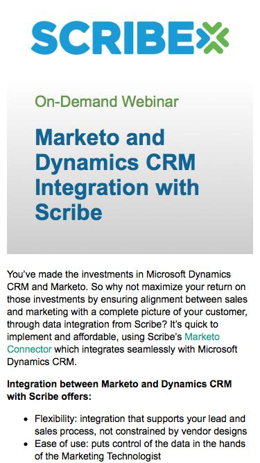 Marketo and Dynamics CRM Integration with Scribe