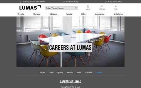Screenshot of Jobs Page lumas.com - Buy pictures & photo art online | LUMAS - captured Oct. 9, 2017