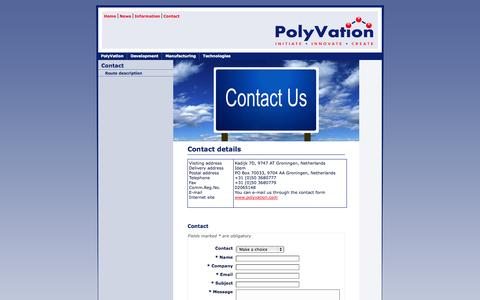 Screenshot of Contact Page polyvation.com - PolyVation - polymers - development - synthesis - manufacturing - captured Sept. 30, 2014