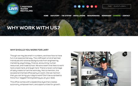 Screenshot of Jobs Page livestockwaterrecycling.com - Why Work With Us? - Livestock Water Recycling, Inc. - captured Aug. 24, 2017
