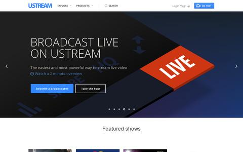 Screenshot of Home Page ustream.tv - Ustream — The leading HD streaming video platform - captured July 11, 2014