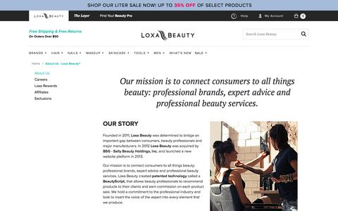 Screenshot of About Page loxabeauty.com - About Us - Loxa Beauty® - captured Jan. 21, 2017