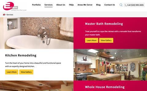 Screenshot of Services Page erendesign.com - Complete Home Renovation | Eren Design & Remodel | Tucson, AZ - captured Sept. 28, 2018