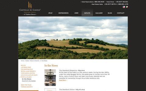 Screenshot of Press Page castellodicasole.com - Boutique Hotel in Tuscany | Castello di Casole - In the News | Hotel in Tuscany - captured Sept. 19, 2014