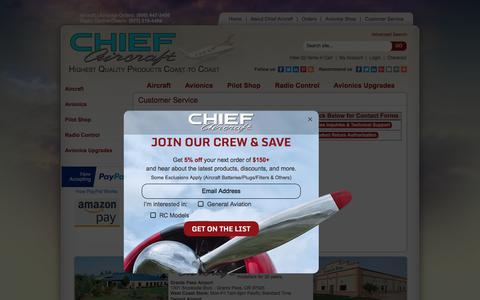 Screenshot of Support Page chiefaircraft.com - Customer Service - Chief Aircraft Inc. - captured June 28, 2017